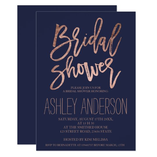Faux rose gold typography blue bridal shower card