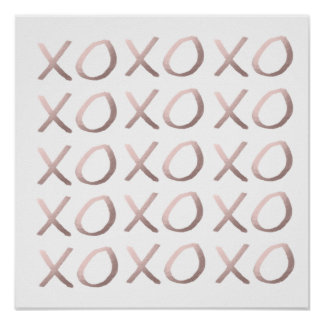 faux rose gold typography hugs and kisses xoxo poster