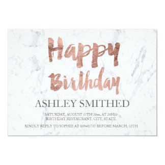 Faux rose gold typography marble birthday party card