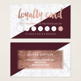 Faux rose gold typography marble burgundy loyalty business card