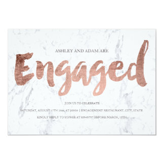 Faux rose gold typography marble engagement party 13 cm x 18 cm invitation card