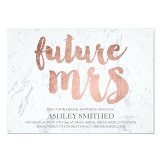 Faux rose gold typography marble Mrs bridal shower 13 Cm X 18 Cm Invitation Card