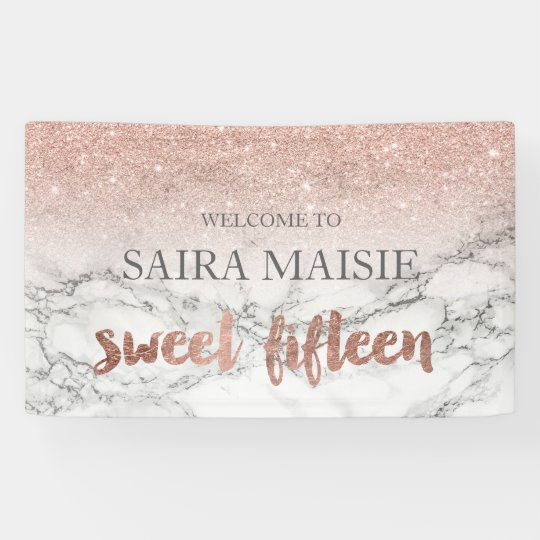 Faux Rose gold typography marble Sweet 15 party