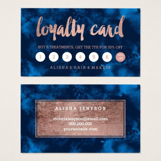 Faux rose gold typography navy watercolor loyalty business