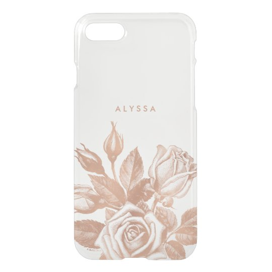 Faux Rose Gold Vintage Tea Roses Clear iPhone