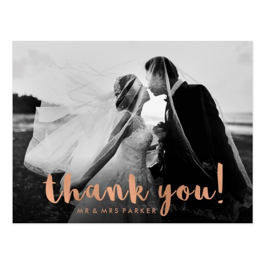 Faux Rose Gold Wedding Thank You with Photo