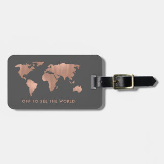 Faux Rose Gold World Map on Smoky Gray Bag Tag