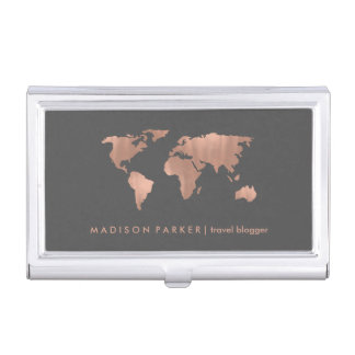 Faux Rose Gold World Map on Smoky Gray Business Card Holder