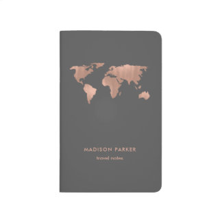 Faux Rose Gold World Map on Smoky Gray Journals