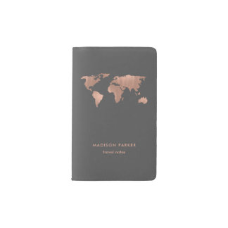 Faux Rose Gold World Map on Smoky Gray Pocket Moleskine Notebook