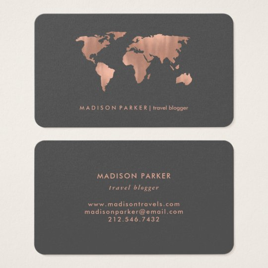 Faux Rose Gold World Map on Smoky Grey