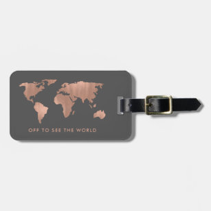 Luggage bag tags zazzle uk faux rose gold world map on smoky grey luggage tag gumiabroncs Gallery