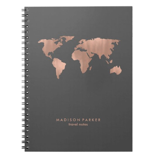 Faux rose gold world map on smoky grey notebook zazzle faux rose gold world map on smoky grey notebook gumiabroncs Choice Image