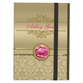 Faux Ruby Red Gemstone Metallic Shiny Gold Damask iPad Air Cases