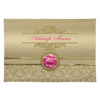 Faux Ruby Red Gemstone Metallic Shiny Gold Damask Placemat