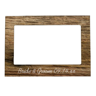 Faux Rustic Barn Wood Country Wedding Magnetic Picture Frame