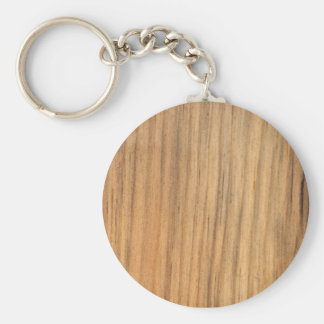 Faux Rustic Finished Barn Wood Basic Round Button Key Ring