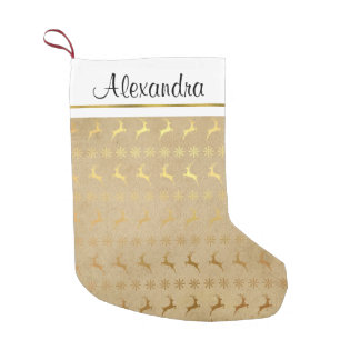 Faux Rustic Gold Foil Reindeer Snowflake Monogram Small Christmas Stocking