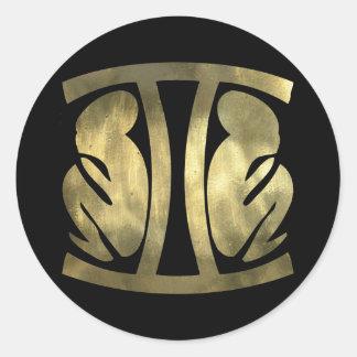 Faux Rustic Gold Gemini Twins Classic Round Sticker