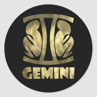 Faux Rustic Gold Gemini Twins Classic Round Sticker