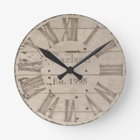 Faux rustic wood custom wall clock
