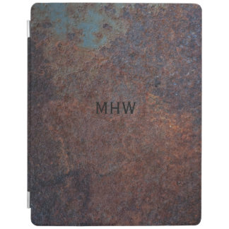 Faux Rusty Metal custom monogram device covers iPad Cover