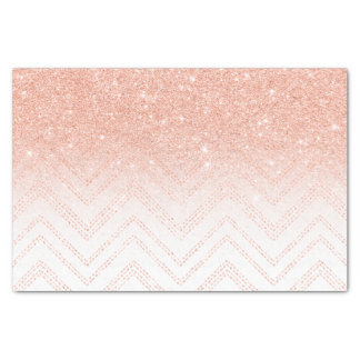 Faux salmon gold glitter ombre modern chevron tissue paper