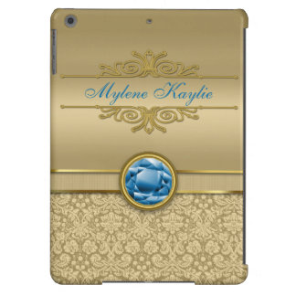 Faux Sapphire Blue Gemstone Metallic Gold Damask iPad Air Cases