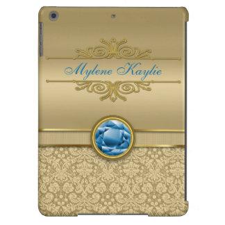 Faux Sapphire Blue Gemstone Metallic Gold Damask Case For iPad Air