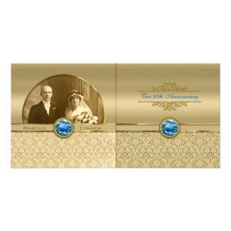 Faux Sapphire Blue Gemstone Metallic Gold Damask Customised Photo Card