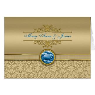 Faux Sapphire Blue Gemstone Metallic Gold Damask Greeting Card
