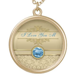 Faux Sapphire Blue Gemstone Metallic Gold Damask Round Pendant Necklace