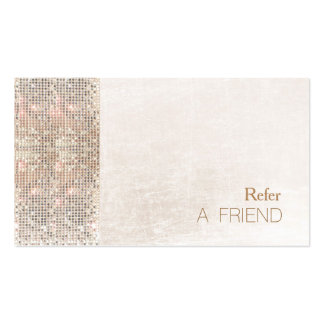 FAUX Sequin Brushed White Marble Referral Pack Of Standard Business Cards