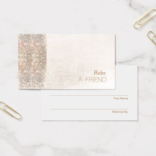 FAUX Sequin Brushed White Marble Salon Referral Business