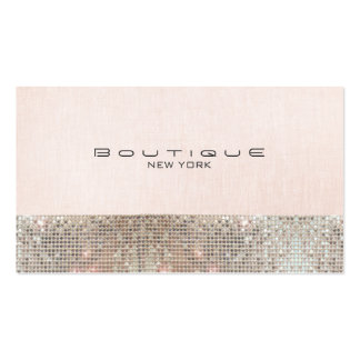 Faux Sequins and Linen Cute Pink Chic Boutique Pack Of Standard Business Cards