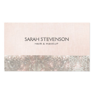 Faux Sequins and Linen Cute Pink Fashion & Beauty Pack Of Standard Business Cards