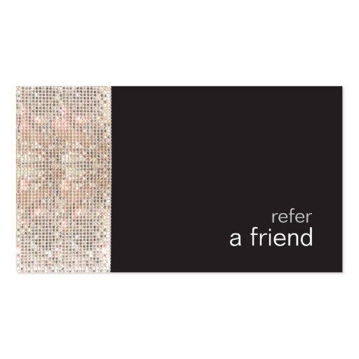 FAUX Sequins Beauty Salon Refer A Friend Black Business Cards
