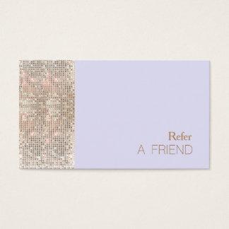 FAUX Sequins Beauty Salon Refer A Friend Lavender Business Card