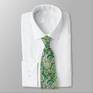 Faux Shiny Lime Green Paisley Floral Pattern Tie