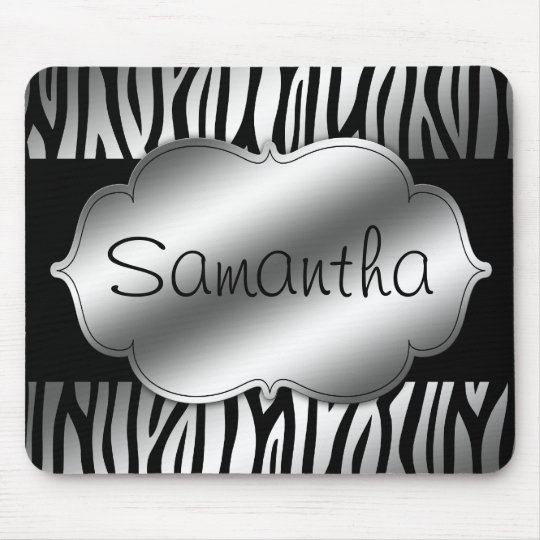 Faux Silver and Black Zebra Personalised Mouse Pad