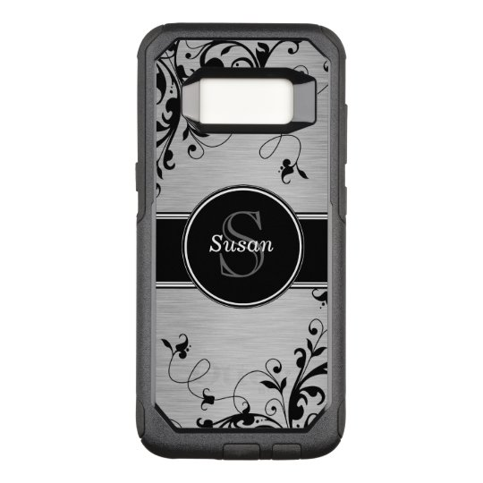 Faux Silver Black Floral Swirls Personalised OtterBox Commuter