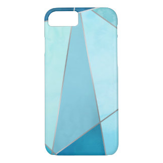 Faux Silver & Blue Geometric iPhone 8/7 Case