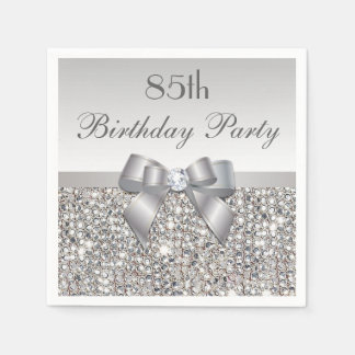 Faux Silver Bow Sequins Diamond Any Age Birthday Paper Napkin