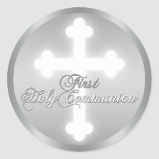 Faux Silver, Cross 1st Holy Communion Sticker