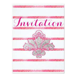 Faux Silver Damask Pink Birthday Invitation Card