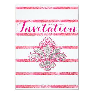 Faux Silver Damask Pink Birthday Invitation Card