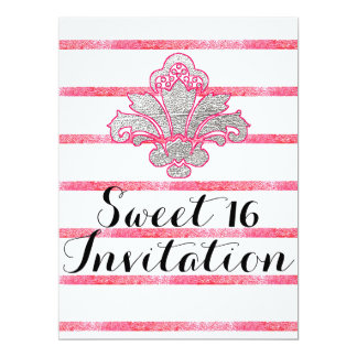 Faux Silver Damask Sweet 16 Pink Invitation Card