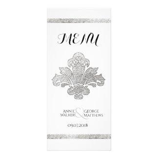 Faux Silver Damask Wedding Dinner Menu Black Full Colour Rack Card