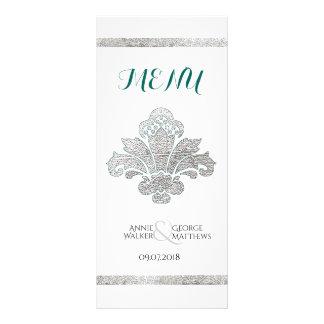 Faux Silver Damask Wedding Dinner Menu Teal Custom Full Colour Rack Card