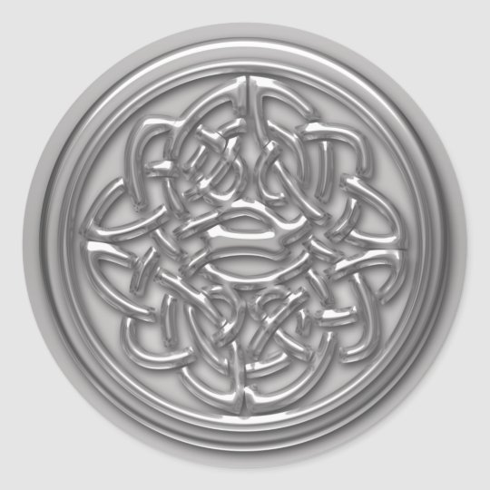 Faux Silver Embossed Look Celtic Knot Badge Round